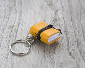 Book keychain, leather keychain, miniature book charm, graduation literature jewelry, key accessory, men women keychain, coworker gift