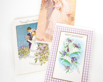 Vintage notecards -- Happy Anniversary card set -- Retro stationery -- 1960s