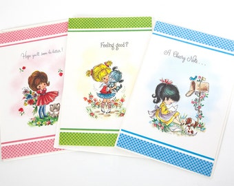 Vintage notecards -- Get well card set -- Midcentury stationery -- 1950s / 1960s