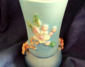 Beautiful Robin's Egg Blue Roseville Apple Blossom Vase, Vintage