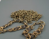 Very Large Link Brass Chain, Two Finished Brass Bracelets Plus 27 Inches Unfinished Matching Chain