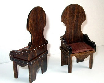 2 Rustic Medieval Chairs, Set of Two Chairs, Dollhouse Miniatures, 1/12 Scale, Hand Made