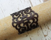 Laser cut leather bracelet , brown leather bracelet , hand made , statement bracelet , boho bracelet , gothic jewelry