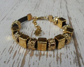 Black leather and gold bracelet with plated unique beads - 2 side bracelet  , hand made