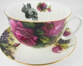Jumbo Skull Cup and Saucer, 16oz, Beautiful Bright Florals, Customizable With Any Design, Steampunk Teacup, Goth Tea Cup, Floral Tea