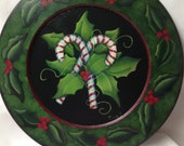 candy cane and holly plate