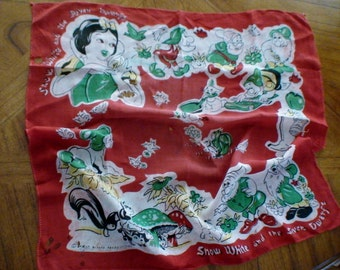 Vintage Snow White and Seven Dwarfs Scarf,Copyright Walt Disney Productions 1940's, calling all Snow White Collectors