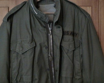 Military Army Field Jacket, Button-In 100% Wool Pile Cotton Back Lining
