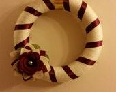 Reserved for Kim-Cream and Dark Red Styrofoam, Yarn and Felt Christmas Wreath - FREE SHIPPING!