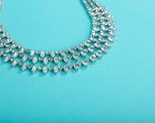 Vintage 1950s Kramer Wedding Necklace - Rhinestone Bib - Bridal Fashions