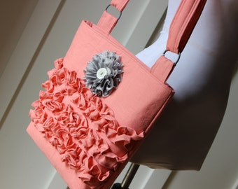Salmon Linen Ruffly Cross Body Hipster Bag