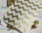 50 Gold Chevron Party Bags, Gold Chevron Wedding Favor Bags, Holiday Gift Bags, Wedding Candy Bags, Gold Treat Bags, Gold Candy Bags