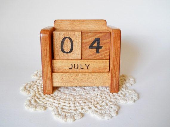 Calendar Wooden Blocks : Perpetual desk calendar wooden block by heartsdesire