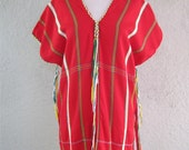 Vintage Handwoven  Thai Tunic Huipil Style- Hand woven - Red top with tassels - Cotton - 70s Thai Blouse