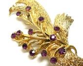 Vintage Brooch Purple/Gold Rhinestones Modern Spray Costume Nature Garden Party Bridal Gift