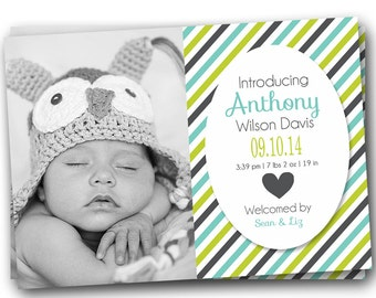 BIRTH ANNOUNCEMENT - photo birth announcement - striped birth announcement - baby boy announcement - baby announcement - newborn, digital