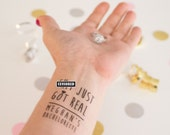 Bachelorette Tattoos,  Sh*t Just Got Real Temporary Tattoos, Pack of 10 Custom Tattoo Party Favor,  Cheeky Party Favor