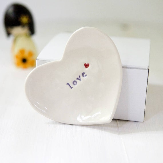 Céramique « amour » anneau plat romantique cadeau