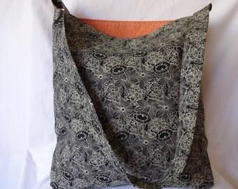 black floral reversable tote bag