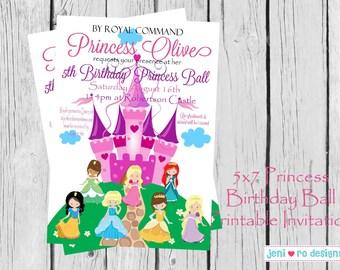 Princess Birthday Party printable invitation - customization included!