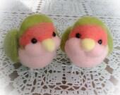 SALE Needlefelted Two Little Lovebirds