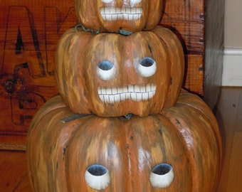 Pumpkin Jack-O-Lantern JOL Stacking Papier Mache Painted Set