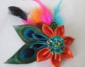 Hawaiian Theme Wedding Fascinator, Teal & Orange Summer Bridal Head Piece, Birdcage Veil, Beach Wedding Hair Piece, Kanzashi Flower
