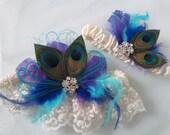 Peacock Wedding Garter Set, Royal Blue Garters, Teal Blue Garter, Turquoise Garter, Purple Garters, Ivory Lace Bridal Garter, Something Blue