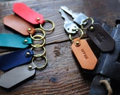 Artemis Leatherware Handmade Leather Keychain - Personalized Custom - Hand Stamped Personalized Keychain