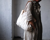 Artemis Leatherware Handmade Washed Out Leather And Canvas Tote Bag/ Shoulder Bag/ Travelling Bag