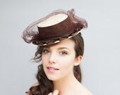 40% Off Vintage 1940's Hat - Afternoon Ride - Ivory and Chocolate Brown Tilt Veiled Toy Hat