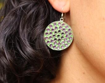 Handmade round silver earrings - Huichol inspiration - green purple earrings - mexican inspiration