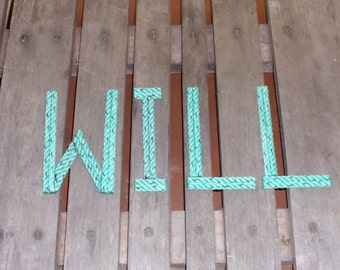 """6"""" Rope Letters Personalize for New Baby Wedding Alphabet Nautical Decor 6 INCH Text Letters Natural or Green Rope"""