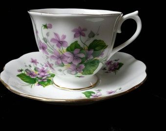 """Royal Albert Fine Bone China """"Purple Violets"""" Cup and Saucer"""