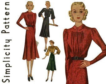1930s Dress Pattern Bust 34 Simplicity 2901 Day or Evening Dress Shirred Bodice Blouse Gored A Line Skirt Womens Vintage Sewing Patterns