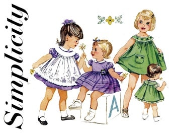 Toddlers 1950s Girls Dress Panties Pattern Simplicity 3807 Pinafore Apron Dress Embroidered Yoked Sundress Childrens Vintage Sewing Patterns