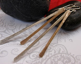 Mixed Metal Dangle Earrings, Silver & Gold Walking Stick Earrings, Long Sterling Gold Hammered Earrings