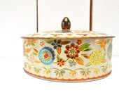 Round Metal Tin 50s Vintage English Biscuit Tin Gold Multicolored Home Decor Storage Sewing Box