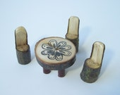 Fairy Garden Decor, Table For Three, Rustic Miniature Table and Chairs Set