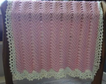 Victorian Ripple Baby Afghan Pink With Off White Lace Border - Ready to be Shipped