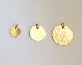 Add on - Gold Filled Hammered Textured Round Disc Charm