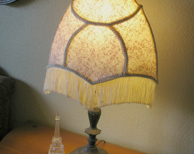Vintage Fabric Lampshade, Handmade,Pink Rose Fabric, Fringed, Country Farmhouse, Shabby Style Decor