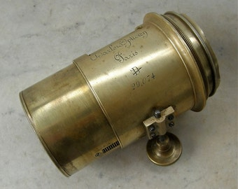 DARLON OPTICIEN LENS Signed Paris France Brass Vintage Antique Optical Optician Photography French Portrait Lens 1800's Free Shipping!