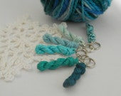 6 Knitting stitch markers - mini skein linen yarn key chains