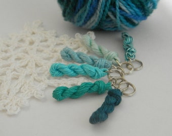 6 Knitting stitch markers - mini skein linen yarn key chains knitting crochet