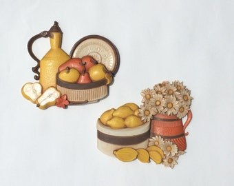 1970s RETRO KITSCH set of 2 wall hangings for kitchen