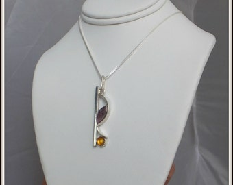 OOAK designer pendant solid silver Natural amethyst and citrine for woman