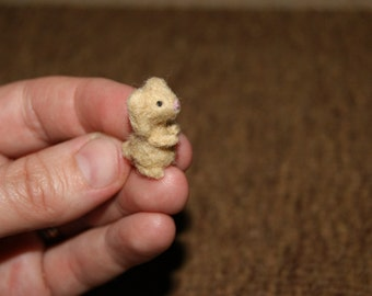 Felted rabbit, rabbit miniature, felted toy, soft sculpture, felted animal