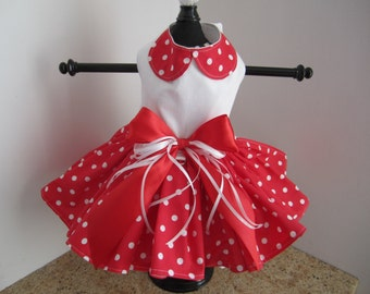 Dog Dress Red with White  Polka Dots and Collar