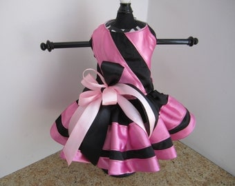 Dog Dress  Black With Pink